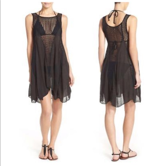 7232999225 Elan Other - •Elan• Black Crochet Inset Swim Cover-up Dress